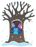 Owl tree theme image 1 Stock Photography