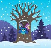 Owl tree theme image 2 Stock Photos