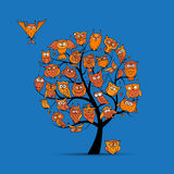Owl tree for your design. Vector illustration Stock Image