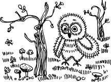 Owl, trees, grass, mushrooms. Black contour on a white background.  Stock Photo