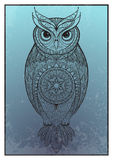 Owl with tribal ornament. Royalty Free Stock Photography