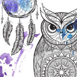 Owl with tribal ornament. Stock Images