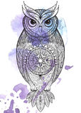 Owl with tribal ornament. Royalty Free Stock Images
