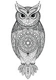 Owl with tribal ornament. stock photo