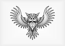 Owl Tribal Tatto Vetora Illustration Fotografia de Stock Royalty Free