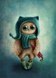 Owl with umbrella Stock Photos