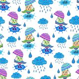 Owl with umbrella pattern stock illustration