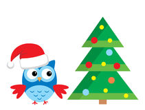 Owl Under The Christmas Tree Stockfotos