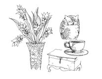 Owl, vase, coffee and chest illustration Stock Photo