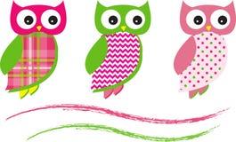 Owl Vector Patterns Pink lindo Imagen de archivo libre de regalías