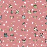 Owl vector seamless pattern Stock Photo