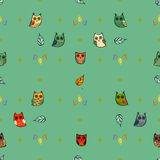 Owl vector seamless pattern Royalty Free Stock Photo