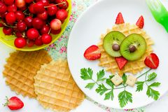 Owl waffle for kids with berry and fruit, creative idea for children. Food stock images