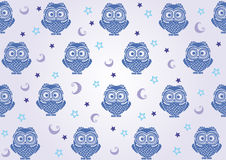 Owl wallpaper. Seamless background with a picture of owls moon and stars Stock Photography