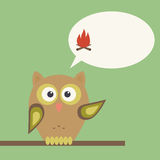Owl with warning about fire. Speech bubble for text Royalty Free Stock Photo