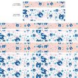 Owl Washi Paper Tape Seamless Pattern Stock Photo