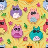 Owl wear black grasses seamless pattern Stock Photo