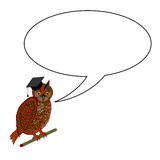 An owl wearing a graduation cap with a speech bubb Royalty Free Stock Photography