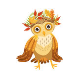 Owl Wearing Leaf Wreath Cute-Beeldverhaalkarakter Emoji met Forest Bird Showing Human Emotions en Gedrag Royalty-vrije Stock Afbeelding