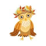 Owl Wearing Leaf Wreath Cute tecknad filmtecken Emoji med Forest Bird Showing Human Emotions och uppförande Royaltyfri Bild