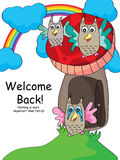 Owl Welcome Back Reunion. Illustration of owls happy and welcome back. Side is your sample text Royalty Free Stock Photo