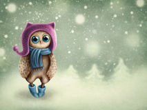 Owl in winter Royalty Free Stock Images
