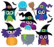 Owl witches theme set 1 Stock Photos