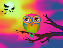 Owl. Woke up and sitting on a branch royalty free illustration