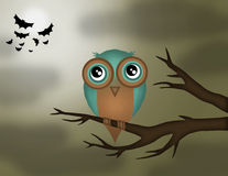 Owl. Woke up and sitting on a branch stock illustration