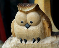 Owl Wood Carving. An owl ornament wooden sculpture painted Stock Images