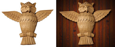 Owl - Wooden Sculpture Hand Carved Stock Image