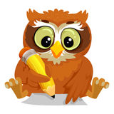 Owl writing on a Blank Paper vector illustration