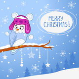 Owl xmas. Illustration for Christmas funny owl in hat sitting on a branch stock illustration