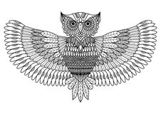 Owl zentangle style for tattoo or coloring book Stock Image
