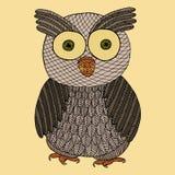 Owl zentangle and zendoodle. Zen tangle and zen doodle bird vector. Vintage coloring book. Wildlife tattoo. Stock Photos