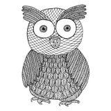 Owl zentangle and zendoodle. Zen tangle and zen doodle bird vector. Stock Photos