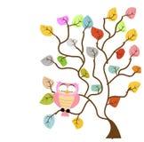 Tree och owl arkivfoto
