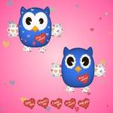 Owlet błękit w sercach na skrzydłach i Obraz Stock