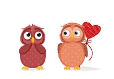 Owlet Cute boy wants to give heart to the Valentine`s Day gift Stock Image