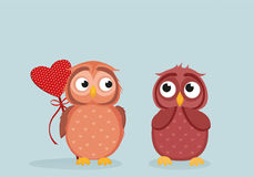 Owlet Cute boy wants to give heart to the Valentine`s Day gift Royalty Free Stock Photography