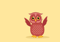 Owlet pink flaps its wings. Greeting card for the holiday. Empty space for text or advertising vaashego. Vector illustration Stock Photos