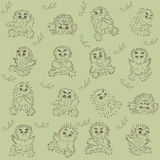 Owlet - seamless texture. This seamless texture with owlets and handwritten Stock Image