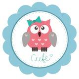 Owlet sveglio della bambino-ragazza Fotografia Stock