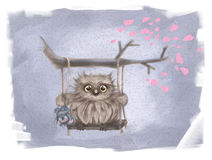 Owlet on a swing Royalty Free Stock Image