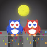 Owlet two lovers. In the night city Royalty Free Stock Photo