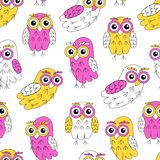 Owlet vector seamless pattern. Royalty Free Stock Photos