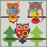 OwlsÑhoolillustration Arkivfoton