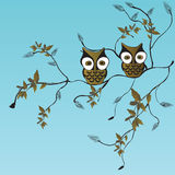 Owls. Illustration of owls on a tree branch Royalty Free Stock Photo