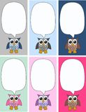 Owls. Illustration of six different owl labels or tags Royalty Free Stock Photography