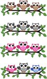 Owls. Illustration of four different owl headers Stock Photography